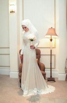 Nice Muslim Wedding Dresses one of my fav design for a wedding dress. Muslim Wedding Gown, Muslimah Wedding Dress, Modest Wedding Dresses, Designer Wedding Dresses, Bridal Dresses, Wedding Gowns, Wedding Hijab, Wedding Bells, Bridal Hijab