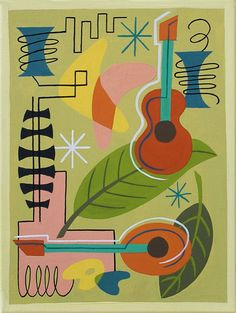 Mid Century Modern Eames Retro Limited Edition Print from Original Painting Guitar Mandolin