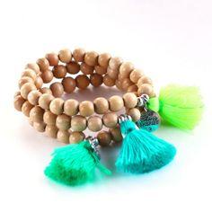 bracelet, boho, pompon, tassel, wood, 18€ www.cherie-sheriff.com/shop