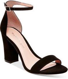 Head over Heels - Madden-Girl Bella Two-Piece Block Heel Sandals Buy Shoes, Me Too Shoes, Mode Rock, Manolo Blahnik Heels, Prom Heels, Sandals Outfit, Shoes Sandals, Black High Heels, Black 7