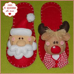 ZAPATILLAS HECHAS EN FIELTRO.  MOTIVO: RENO O SANTA.  Pantofole - Renna Felt Christmas Ornaments, Christmas Crafts, Christmas Decorations, Felt Crafts, Diy And Crafts, Funny Slippers, Felt Baby Shoes, Baby Booties Knitting Pattern, Hobbies For Kids