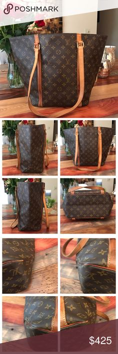 """Authentic Louis Vuitton Sac Shopping Tote 100% Authentic Louis Vuitton Sac Shopping Tote.   Monogram canvas has no scratches or tears.  Vachetta leather has turned into a beautiful honey color.  Some wear notes in pics. No cracking.   Handles have wear but no cracking either.   Stitching is good.  Inside has some ink stains and dirt as seen in pics but still nice.   Minor storage odor to go away with usage.  Zipper pocket is clean and works well. W15.8xH12.5xD5.5"""".  I do not trade. Louis…"""