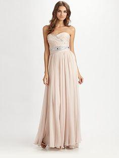 Notte by Marchesa Strapless Silk Chiffon Gown