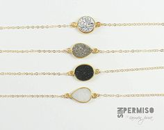 Agate druzy necklace!!! (white, black, silver and grey)