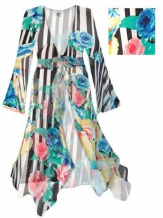 d441ba8e72 Customize Black and White Striped Floral Sheer Blouse Swimsuit Coverup Plus  Size   Supersize 0x 1x