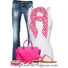 Spring. Summer. Warmer days in the fall & winter. White tank. Jeans. Pink scarf. Pink bag. Pink sandals.