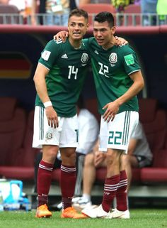 Hirving Lozano of Mexico celebrates with team mate Javier Hernandez of Mexico after scoring his team's first goal during the 2018 FIFA World Cup Russia group F match between Germany and Mexico at. Get premium, high resolution news photos at Getty Images Mexican Soccer Players, Soccer Guys, Football Players, Mexico World Cup, Mexico National Team, Germany Vs, Russia World Cup, Mexico Soccer, Football Mexicano