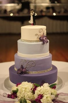 Purple Ombre Wedding Cake w/ Western Topper - Wedding Coordination & Photo by Camille Victoria Weddings LLC