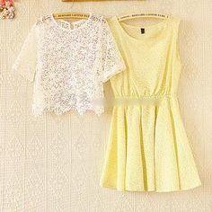 Set: Lace Top + Floral Sleeveless Dress from #YesStyle <3 Munai YesStyle.com