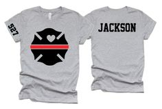 I Love My Fireman Shirt | Personalized fireman t shirt | Custom Firefighter Shirt  | Firefighter Shirt - ADULT S / HEATHER GREEN