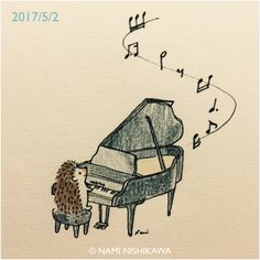 Hedgehog playing the piano.