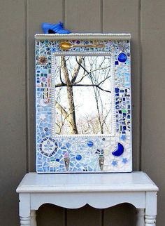 Upcycled Shabby Chic Mosaic Art Mirror. $175.00, via Etsy.