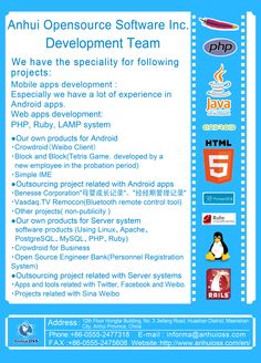 Our company provide not only our own products but also outsourcing solutions for Android apps and Twitter, Facebook, Weibo related apps and tools!