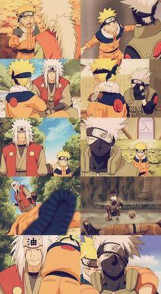 Naruto and his teachers, Jiraiya and Kakashi