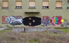 Basik/Zamoc/Gola collaboration in the suburbs of Rimini in Italy Street Art Love, Best Street Art, Composition Painting, Urban Architecture, Italian Artist, Urban Art, Art World, All Art, Collaboration