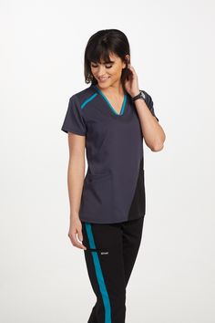 The Grey's Anatomy Spandex Stretch Contrast Panel Scrub Top is made with stretch fabric and roomy pockets. Greys Anatomy Men, Greys Anatomy Scrubs, Grey's Anatomy, Scrubs Outfit, Scrubs Uniform, Nursing Shoes, Medical Scrubs, Scrub Pants, Sporty Look