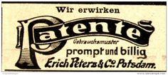 Original-Werbung/ Anzeige 1898 - PATENTE - ERICH PETERS - BERLIN - ca. 45 x 20…