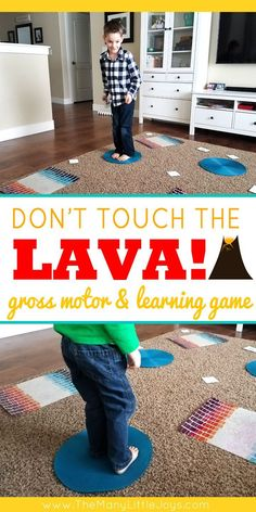 "Don't Touch the Lava! (preschool learning game Little boys love anything dangerous…and if you can't beat 'em, join 'em! This engaging preschool learning game is a great way to get kids to practice academic skills in the context of a ""death-defying"" chall Learning Games For Preschoolers, Gym Games For Kids, Toddler Learning Activities, Indoor Activities For Kids, Home Activities, Home Learning, Preschool Movement Activities, Toddler Games, Educational Activities"