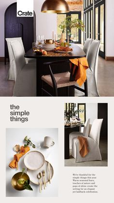 We're thankful for the simple things this year. Warm seasonal hues, touches of nature and pops of shine create the setting for an elegant yet laidback celebration. #ThanksgivingTable #ThanksgivingIdeas #ThanksgivingDesign #Thanksgiving #HolidayDining #ThanksgivingFood Diy Bedroom Decor, Living Room Decor, Diy Home Decor, Girl Bedroom Designs, Aesthetic Room Decor, Deco Table, Home And Deco, Simple Things, Home Crafts