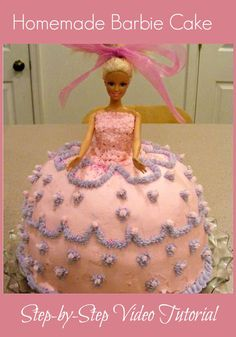 You don't have to be a professional cake decorator to make this cute Barbie cake. You can swap out Barbie for Elsa and easily make a Frozen cake using the same step-by-step video tutorial.