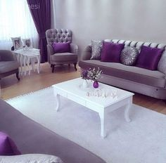 Fon perde, Halı, Mor, Orta sehpa, Salon We genuinely believe that tattooing can be quite a method that's been used … Cute Living Room, Living Room Grey, Living Room Decor, Purple Furniture, Home Decor Furniture, Furniture Design, Sofa Design, Interior Design, Decoration Chic
