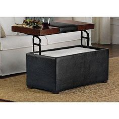 Arlington Lift-Top Storage Ottoman is perfect for eating or working in front of the couch. Provides a sleek and functional look that matches any decor.