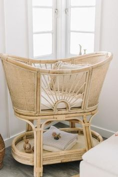 Pre-order Woven Sunrise PRE-ORDER, estimated arrival for Mid December. All your Rattan bassinet drea Boho Nursery, Nursery Neutral, Nursery Room, Vintage Nursery Girl, Elephant Nursery, Nursery Decor, Baby Bedroom, Baby Room Decor, Kids Bedroom
