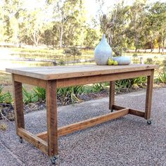Saying goodbye to this gorgeous supersize recycled high bench table as it makes its way to Adelaide tomorrow Made from recycled timber salvaged from old Queenslander houses, it is fully customisable to any size and finish And 10 Year Warranty ♻️