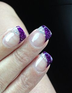 60 +Pic Pink Gel Nails Ideas 2018 - style you 7 Purple French Manicure, Purple Glitter Nails, Glitter Manicure, French Tip Nails, Glitter French Tips, French Pedicure, Silver Glitter, Wedding Nails For Bride, Bride Nails