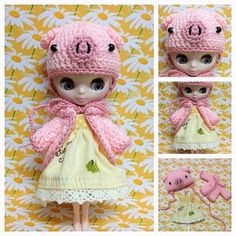 "Petite Blythe / Little Dal Outfit : ""Funny & Piggy Set"" (Dress,Crochet hat and Top coat)"