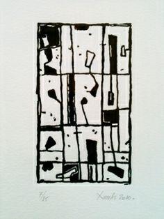 TABLEAU PEINTURE gravure lino gris velin Abstrait  - voeux 01
