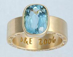 Emma's Ring  18K yellow gold, Aquamarine, White & Yellow diamonds
