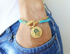 Hamsa hand of fatima turquoise bracelet  arabic by Handemadeit, $17.90