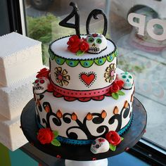 Day of the dead themed cake by Whipped Bakeshop in Philadelphia. Sculpted sugar skull birthday cake with rich details and detailed piping. Pretty Cakes, Beautiful Cakes, Amazing Cakes, Cake Cookies, Cupcake Cakes, Cake Pops, Sugar Skull Cakes, Sugar Skulls, Day Of The Dead Cake
