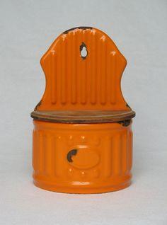 VINTAGE FRENCH ENAMELWARE WALL-HANGING KITCHEN BOX in bright orange coloring #OriginalVintage