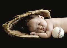 Infant photo baseball glove | Newborn baby in a baseball glove by lottie
