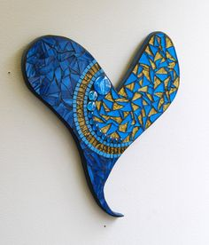 Mosaic stained glass heart in deep aqua blue with by GradaMosaics