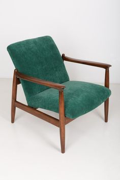 For Sale on - A pair of dark green armchairs, designed by Edmund Homa. The armchairs were made in the in the Gosciecinska Furniture Factory. Velvet Upholstery Fabric, Upholstery Foam, Green Velvet Armchair, Velvet Chairs, Cozy Chair, Furniture Factory, Great Rooms, Vintage Furniture, Design