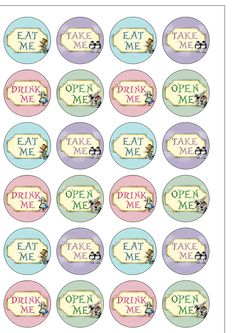 24 Precut 40mm circle Alice in Wonderland Mad Hatters Tea Party Edible Wafer Paper Cake Toppers