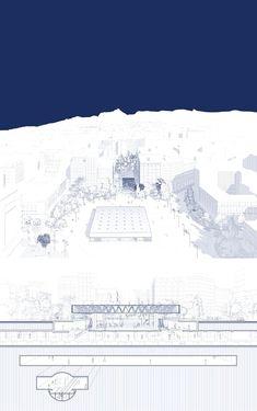 rethink athens: towards a new city center by giorgos anagnostakis, chryssa koumantou, gianmaria socci, alkistis thomidou, special mention. Villa Architecture, Architecture Graphics, Architecture Drawings, Architecture Layout, Water Architecture, Landscape Plans, Landscape Design, Landscape Steps, Landscape Bricks