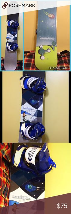 "Ladies Burton ""Shannon Dunn"" Snowboard & Bindings Great starter board for the novice boarder. This board is from the Feelgood series and is easy to ride. Includes Burton bindings, which are set goofy but can easily be adjusted to regular stance. I used this board to compete in boarder-cross and as a result there are divots and noticeable wear on top. The bottom of the board is in great shape. Board needs edges sharpened, bottom waxed and minor tuneup. One of the bindings has a smeared logo…"