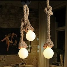 ECOOLBUY doppia testa del retro ferro Luci della corda Loft Vintage lampada da letto Sala da pranzo Ciondolo lavorato a mano della canapa 150 CM / 59in