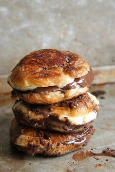 brown butter fried banana nutella croissant sandwiches.