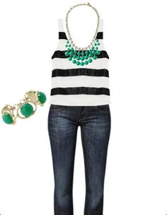 Black and white stripes with a pop of green. http://www.stelladot.com/sites/EricaMNicholson #stelladotstyle #stelladot #popofcolor