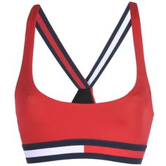 Tommy Hilfiger Top ($55) ❤ liked on Polyvore featuring bras, tops, swimwear, red and tommy hilfiger