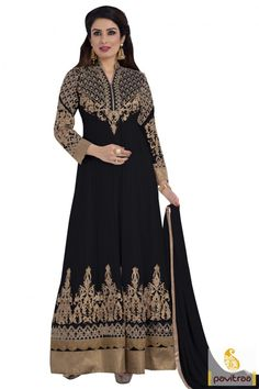 Superb black color georgette santoon sangeet function anarkali dress is nicely designed by heavy embroidery and jardoshi work on sleeves and bottom of anarkali suit which looks extremely classic #salwarsuit, #anarkalisalwarsuit more: http://www.pavitraa.in/store/anarkali-salwar-suit/