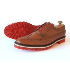 quality design ef551 b0525 Cognac Brown Longwing, White Mid-Sole and Red Commando Sole - Greenwich  Vintage Co. Purveyors of Fine U.S. Made Vintage Goods