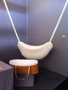 not sure I trust it lol but so cool -- knitted baby cradle