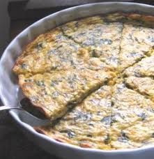 Cottage cheese & egg crustless quiche. You can leave out the spinach and tomato if you like.