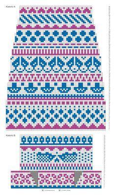 kuva Fair Isle Knitting Patterns, Fair Isle Pattern, Knitting Charts, Knitting Stitches, Knitting Socks, Knit Patterns, Free Knitting, Fair Isle Chart, Cross Stitch Borders